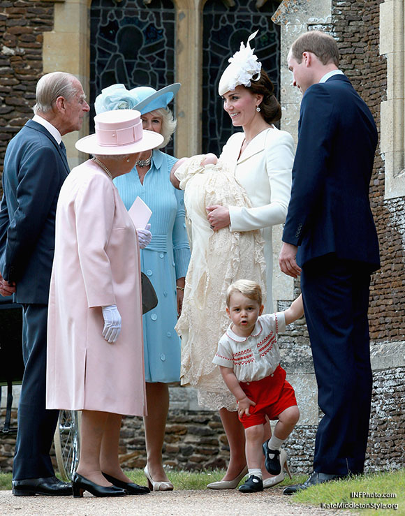 Kate Middleton Duchess of Cambridge bespoke wing lapel wool silk coat dress by Alexander McQueen Charlotte Christening 2015