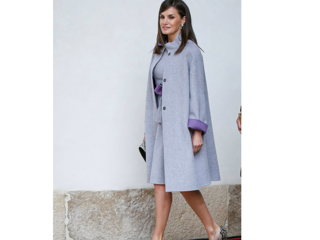 Letizia wearing lilac double faced coat during Spain's National Day Military Parade on October 12, 2008 in Madrid, Spain.