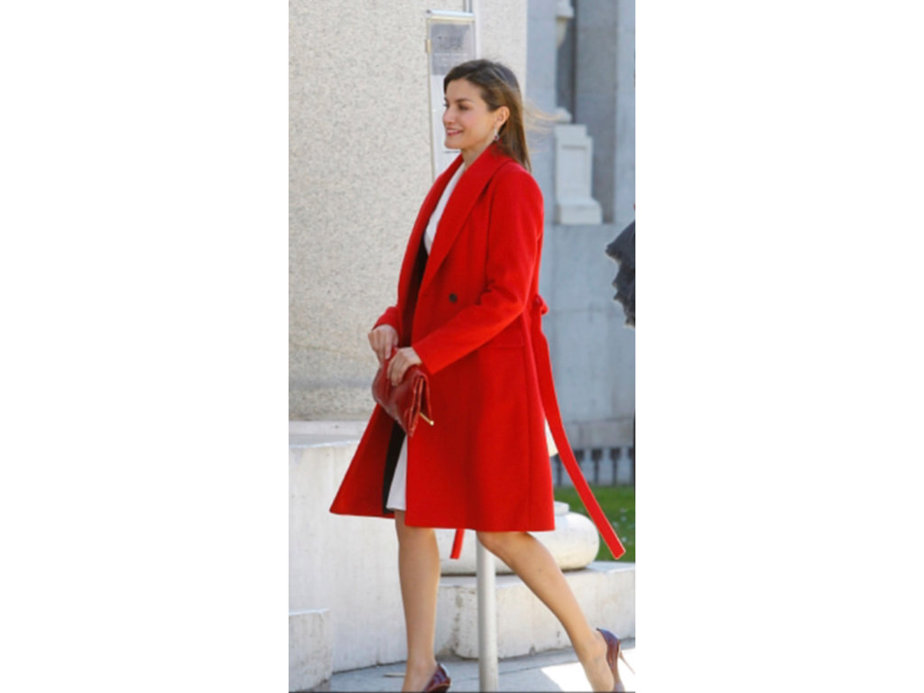 Letizia in red Hugo Boss wrap coat