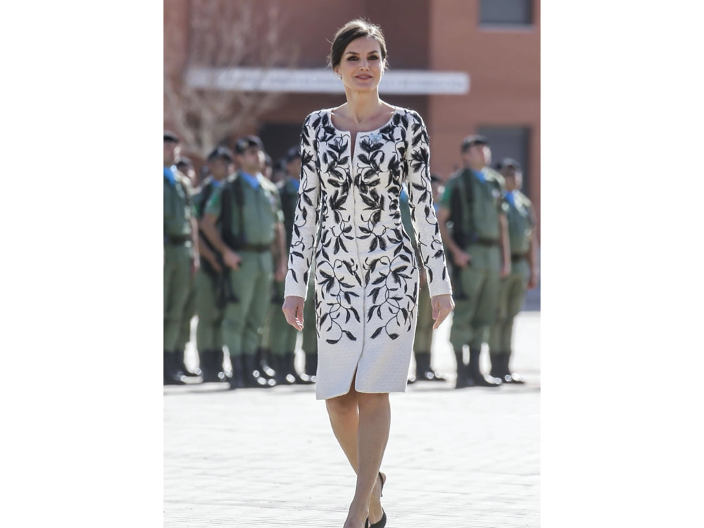 "Queen Letizia in a black and white Felipe Varela knee-length dress, Delivery of the National Flag to the ""Napoles"" Infantry Regiment 4 in Madrid 02/23/2019"