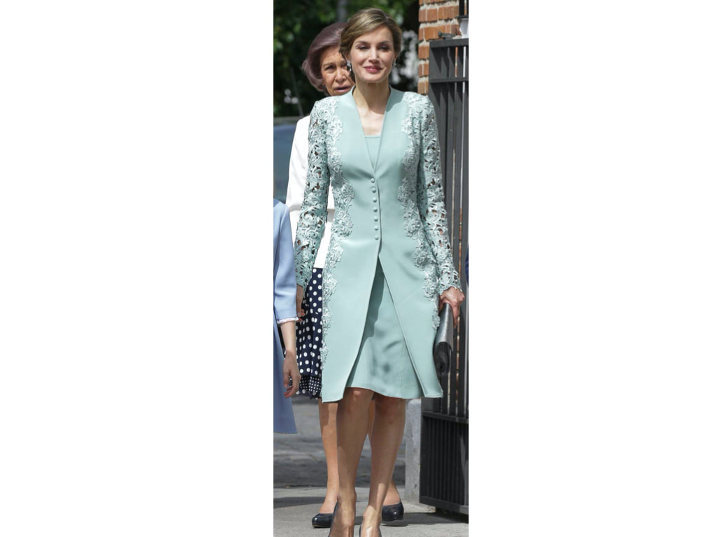 Letizia in mint green guipure lace coat and matching dress
