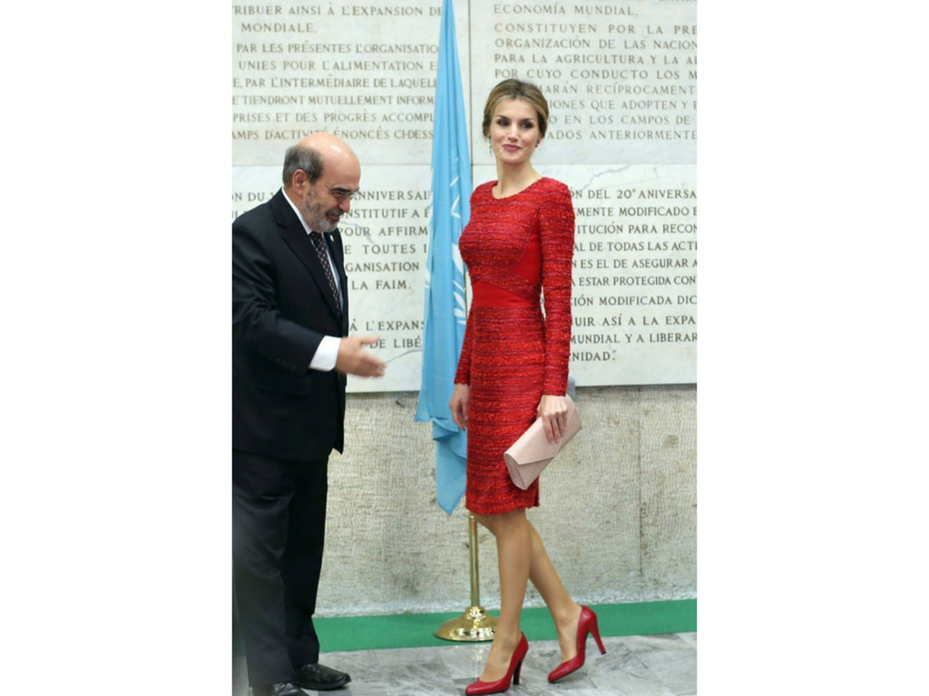 Letizia in red panelled dress in Italy, 2014