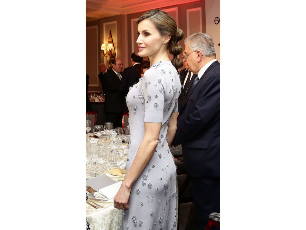 Letizia in embellished Nina Ricci dress at the 60th Anniversary of Europa Press Agency celebration in May 2017.