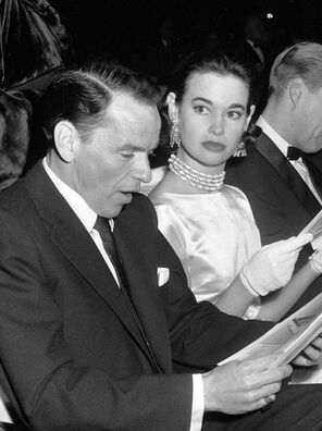 Gloria Vanderbilt with Frank Sinatra, with whom she had a short affair, which would in part cause her to divorce her second husband, conductor Leopold Stokowski