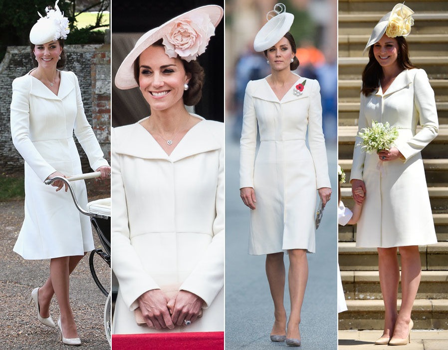 Kate Middleton Duchess of Cambridge bespoke wing lapel wool silk coat dress by Alexander McQueen worn multiple times
