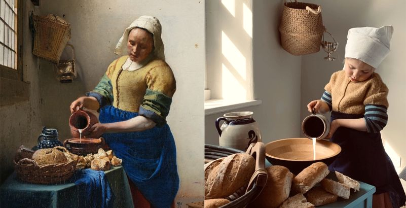 Getty museum challenge:recreating Vermeer the milkmaid