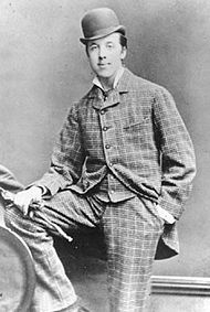 the most elegant Irish man Oscar Wilde in checked suit and a bowler hat, Oxford, 1876