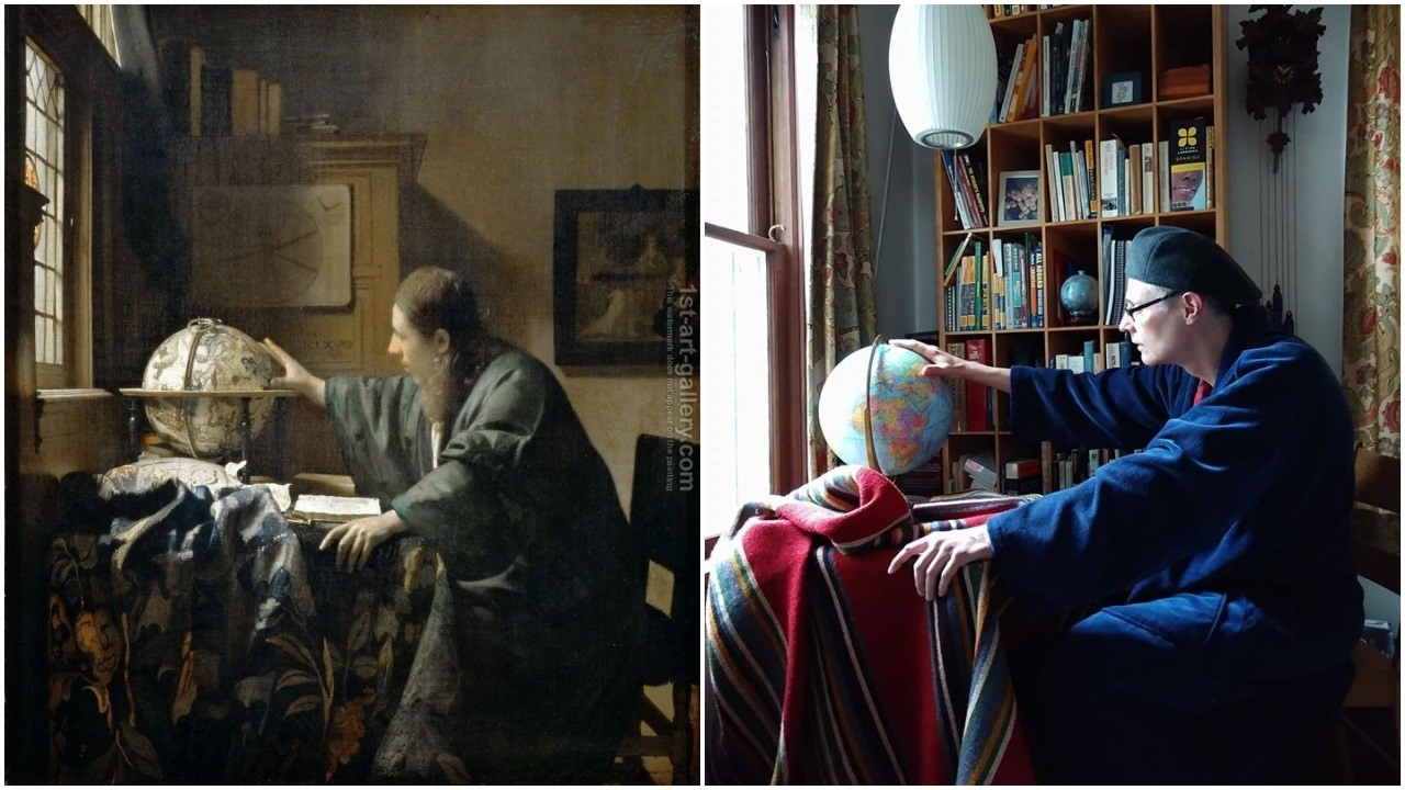 Getty museum challenge:recreating Vermeer The Astronomer