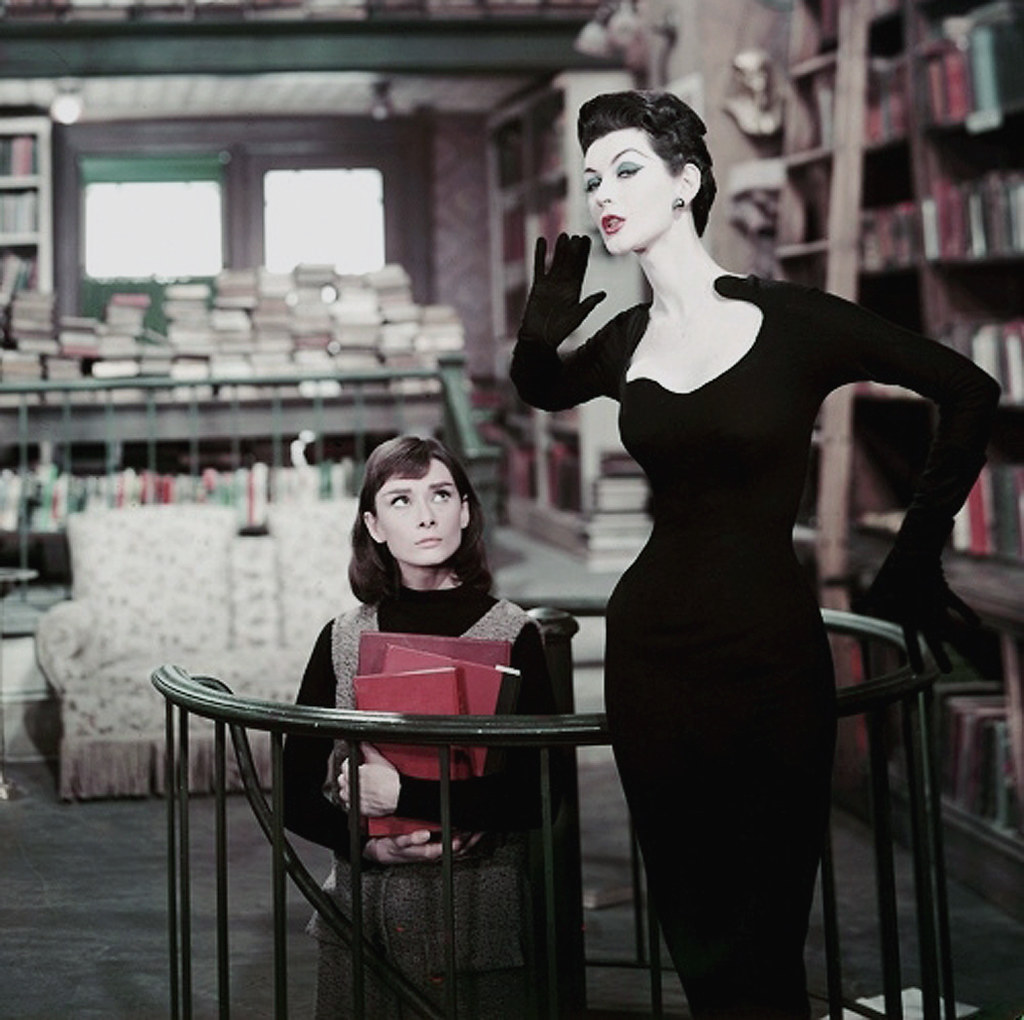 Dovima and Audrey Hepburn in movie Funny Face