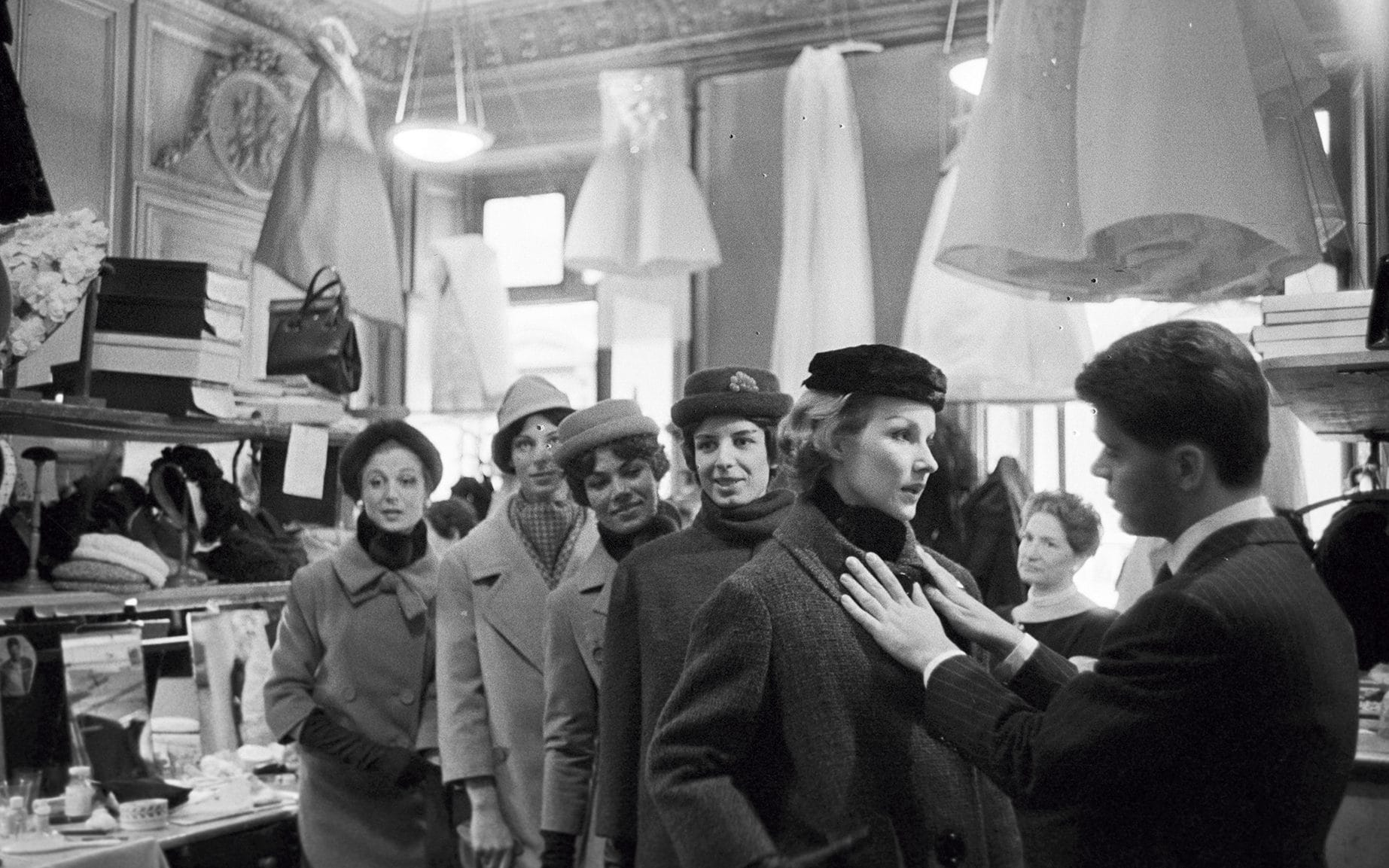 Karl Lagerfeld prepares for his first collection of Jean Patou, July 1958