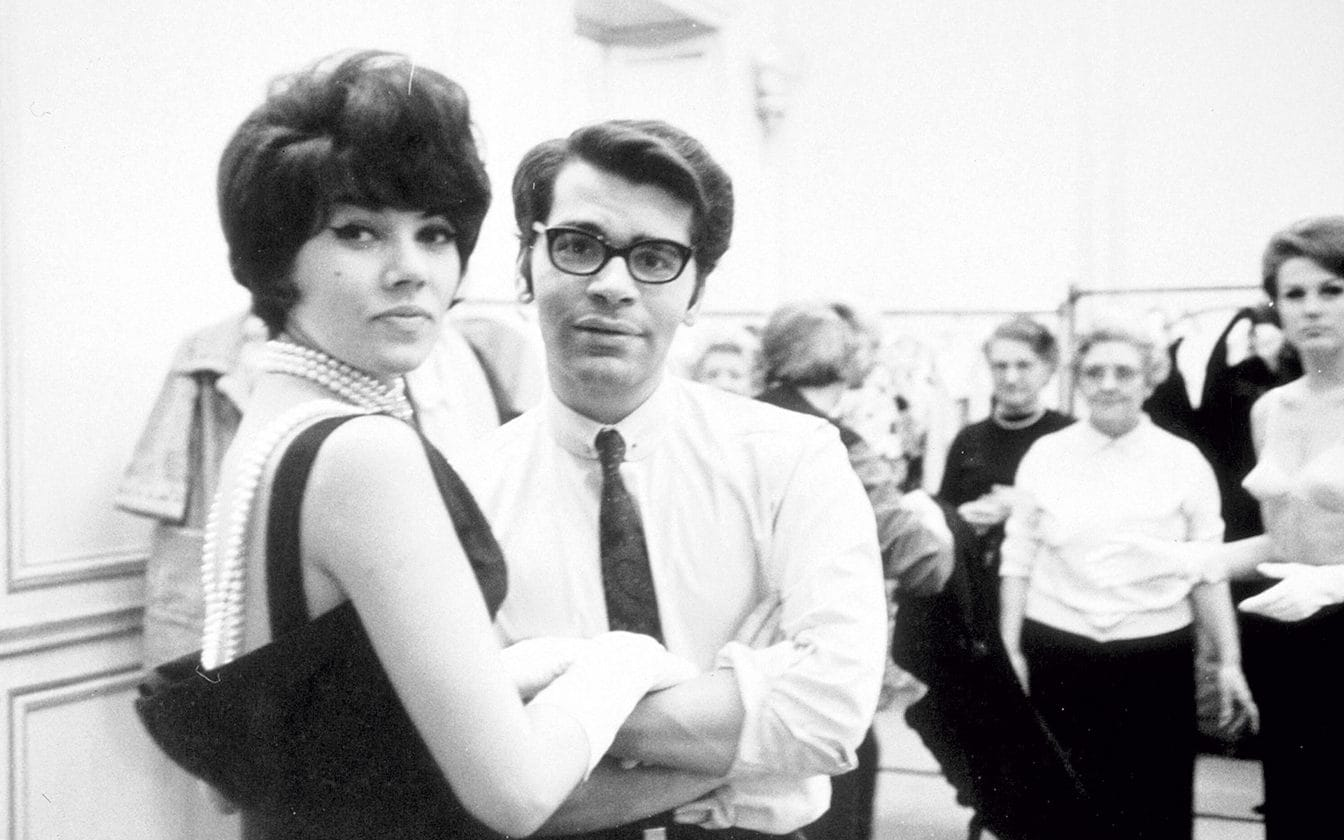 Karl Lagerfeld with model at Chloé, 1964