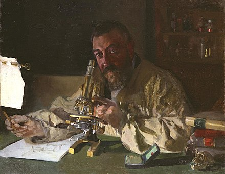 Portrait of Dr Simarro at the microscope, 1897, (Luis Simarro Legacy Trust, Fundación General, Complutense University)