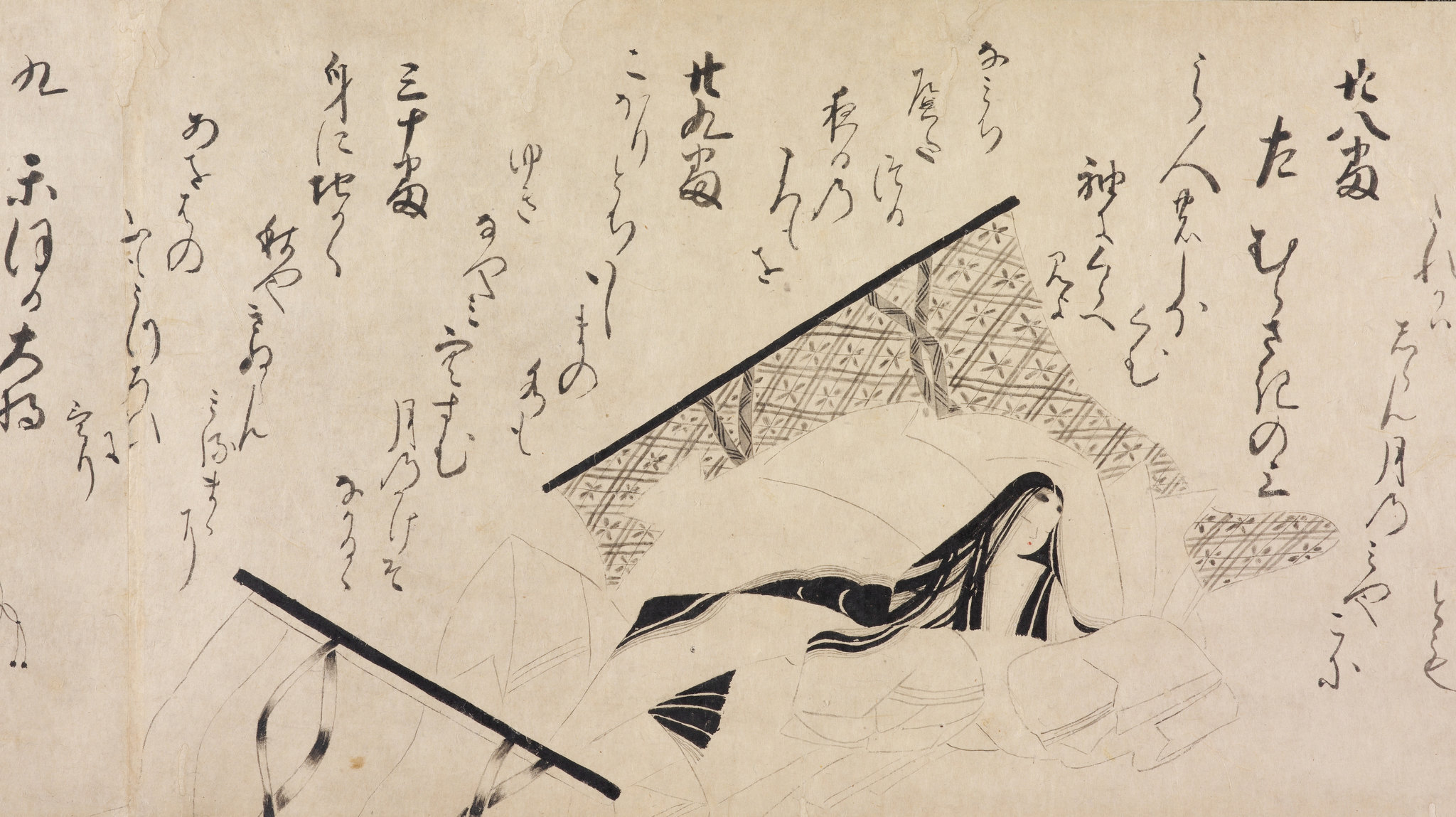 """The Genji Poetry Match,"" an ink-line handscroll by an unidentified artist, from the first half of the 16th century. Credit: John C. Weber Collection"