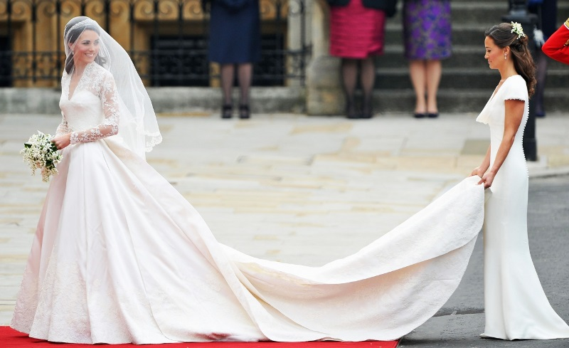 Kate Middleton in her wedding dress designed by Alexander McQueen