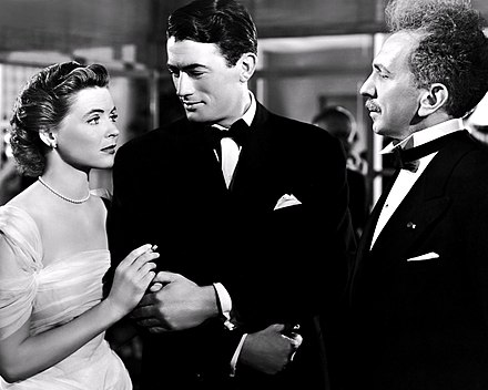 Gregory Peck with actors Dorothy McGuire and Sam Jaffe in Gentleman's Agreement (1947)