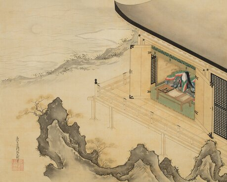 "Detail of Tosa Mitsuoki's ""Murasaki Shikibu Gazing at the Moon,"" a 17th-century hanging scroll of ink and color on silk. Credit: Ishiyamadera Temple"