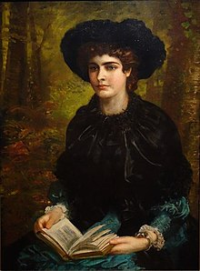 Elegant playwright Oscar Wilde wife Constance Lloyd. Painting by Louis Desanges 1882Picture