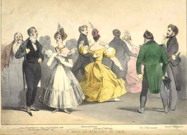 A ball at Almack's, supposedly in 1815; the couple on the left are annotated as 'Beau Brummell in deep conversation with the Duchess of Rutland'.