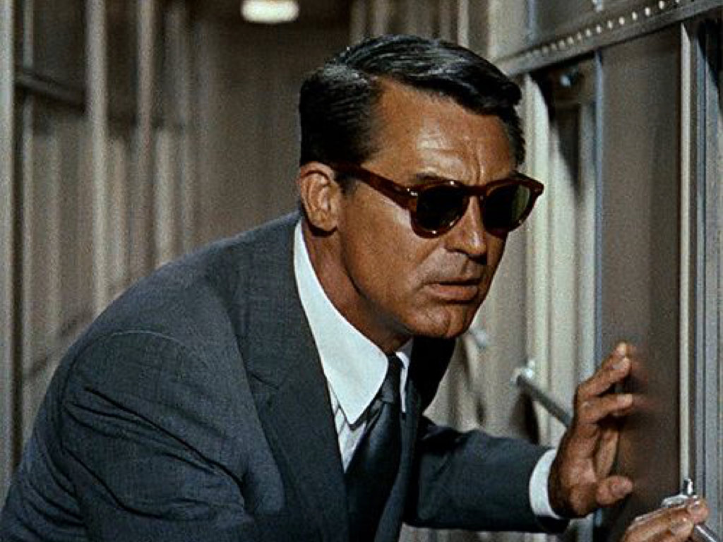 Cary Grant iconic grey blue suit with Glen Plaid or Prince Edward checker in film North by Northwest