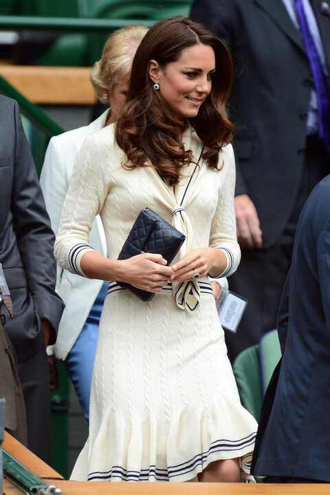 Kate Middleton Alexander McQueen cream cable knit sweater dress with sailor collar Wimbledon 4 July 2012