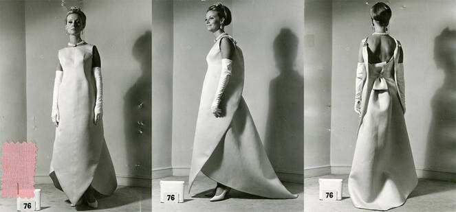 Model wearing Balenciaga evening dress, 1965. © Balenciaga House Archives, Paris