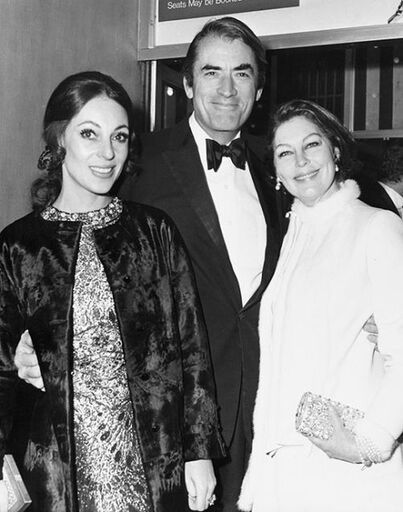 Gregory Peck with his second wife Véronique Passani (1932-2012) and Ava Gardner, 1969