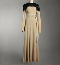 Jeanne Lanvin evening dress long sleeve beige with black sequin