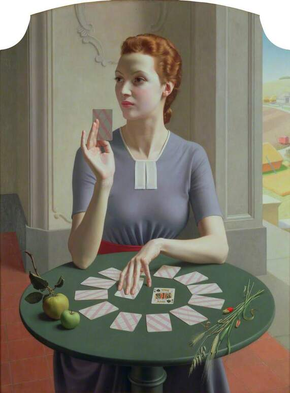 A game of Patience by Meredith Frampton modeled by Marguerite Kelsey, 1937, Ferens Art Gallery in Hull