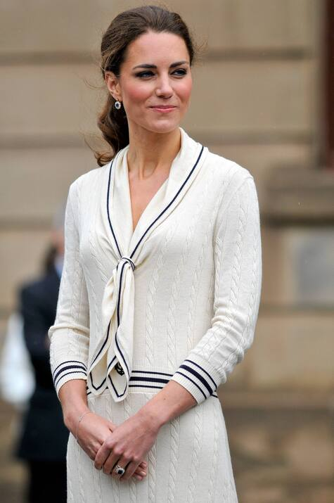 Kate Middleton Alexander McQueen cream cable knit sweater dress with sailor collar Prince Edward's Island Canada 4 July 2011