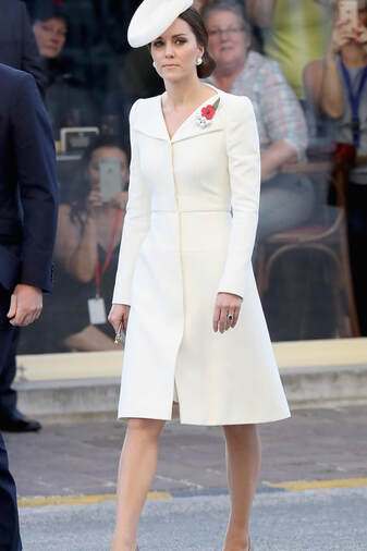 Kate Middleton Duchess of Cambridge bespoke wing lapel wool silk coat dress by Alexander McQueen Belgium 2017