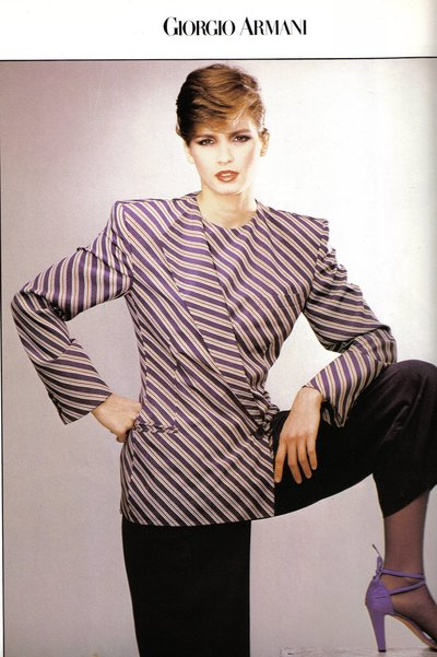 Gia Carangi in Giorgio Armani power suit 1980, photo by Aldo Fallai