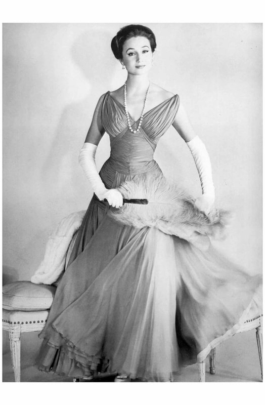 jacqueline de ribes wearing dress designed by jean desses, 1956
