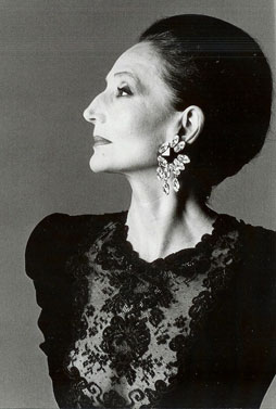 jacqueline de ribes wearing photo by Harry Winston diamond earrings, 1986, Francesco Scavullo (1921-2004)
