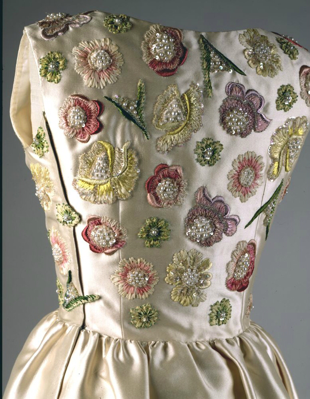 bodice embroidery of Jackie Kennedy's ivory satin dress designed by French coutourier Hubert de Givenchy, for her official visit to France with general de Gaulle in Versailles 1961
