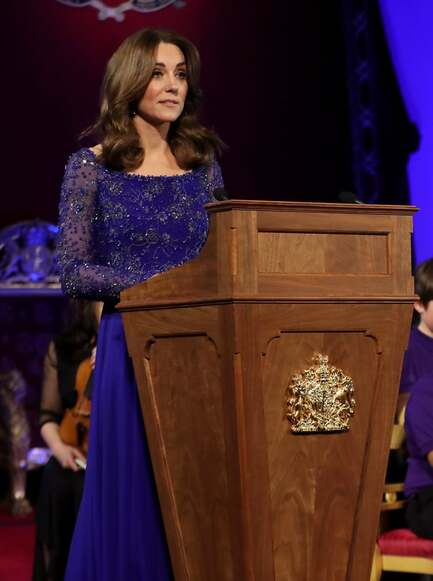 Kate Middleton in royal blue Jenny Packham gown