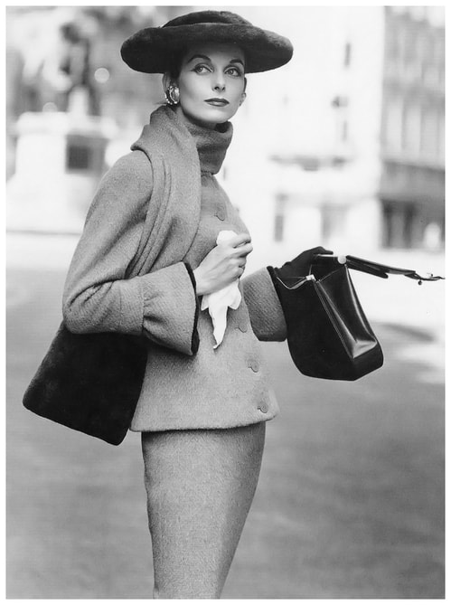 Anne Sainte Marie in Jean Jacques suit, photo by Henry Clarke, Vogue, 1955