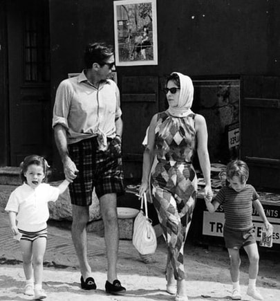 Gregory Peck with his wife Véronique Passani and their two children: Cecilia Peck and Anthony Peck