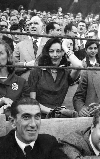 Ava Gardner watching bull fight in Spain