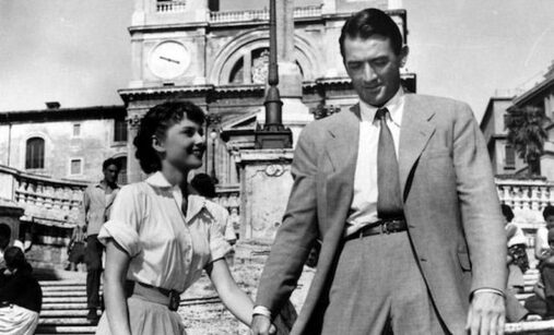 Gregory Peck and Audrey Hepburn in film Roman Holiday(1953)