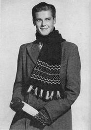 Roger Moore as a knitwear model in the 50s