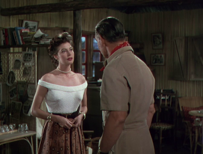 Ava Gardner with Clark Gable in film Mogambo, 1953