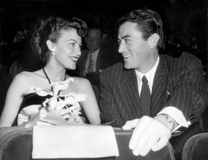 Gregory Peck with Ava Gardner, his co-star for three films and friend, 1953