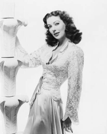 Loretta Young in evening gown