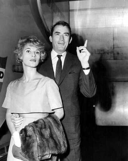 Gregory Peck with his wife Véronique Passani, Chicago Airport, 1958