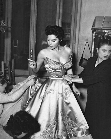 Ava Gardner(24 December 1922-26 January 1990) fitting for Balenciaga gown