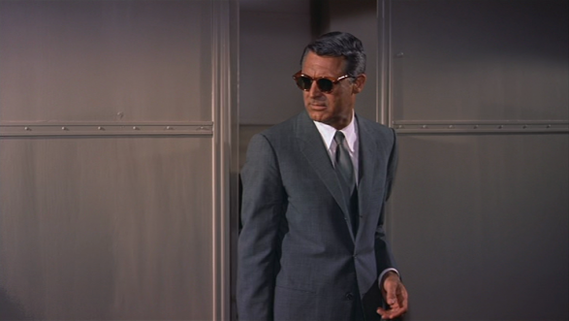 Cary Grant's iconic grey suit in film North by Northwest by Alfred Hitchcock