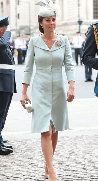 Kate Middleton Duchess of Cambridge bespoke wing lapel wool silk coat dress by Alexander McQueen for RAF Ceremony 2018