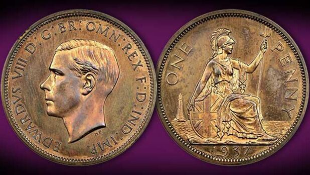Edward VIII rare copper coin was sold for 163,000 (133,000 pounds) at auction