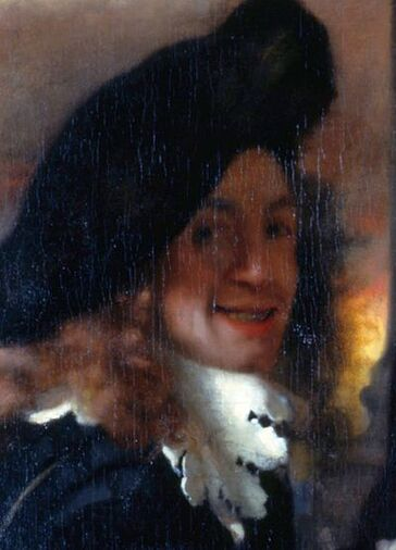 Detail of the painting The Procuress (c. 1656), believed to be a self portrait by Vermeer.
