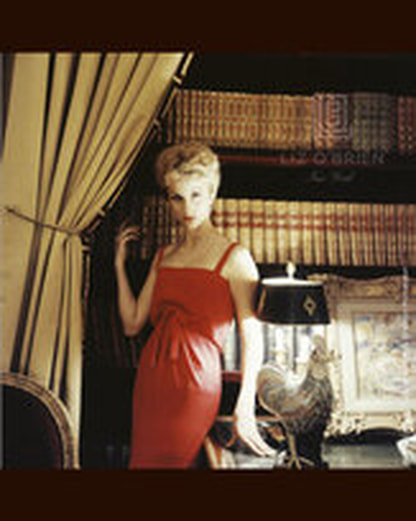 Dolores Guinness in Christian Dior red dress